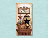 Dollhouse Miniature 1x2 Metal Sign, Live Love And Be Happy, Folk Art Prim Country Primitive Doll Picture Home Decor Decoration Collectors