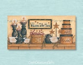 Dollhouse Miniature 1x2 Metal Sign, Welcome To Our Home, Folk Art Prim Country Primitive Doll House Picture Home Decor Decoration Collectors