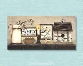 Dollhouse Miniature 1x2 Metal Sign, FAMILY No1 Folk Art Prim Country Primitive Doll House Picture Home Decor Decoration Collectors