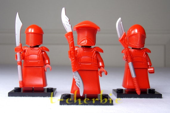 Set of 3 Star Wars Praetorian Guards Red Custom Lego Minifigures
