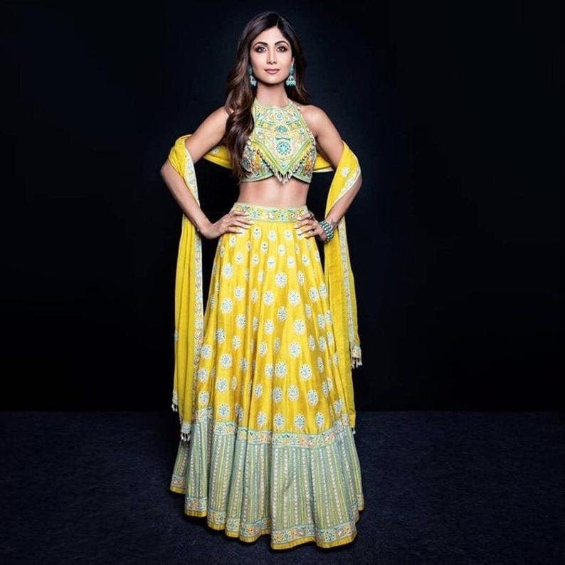 Tapetta Silk With Digital Printed Work Exclusive Fancy Work On Bridal yellow Indo Western Traditional lehenga with blouse and Dupatta