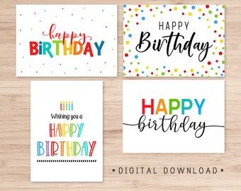 Set of 4 Printable Birthday Cards / Happy Birthday Card / Instant Download / Card Template