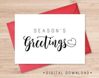 Season's Greetings Printable Card / Instant Download PDF / Modern Christmas Card / Holidays Card Template