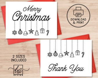 Printable Merry Christmas And Thank You Cards / Instant Download PDF / Holidays Card Template