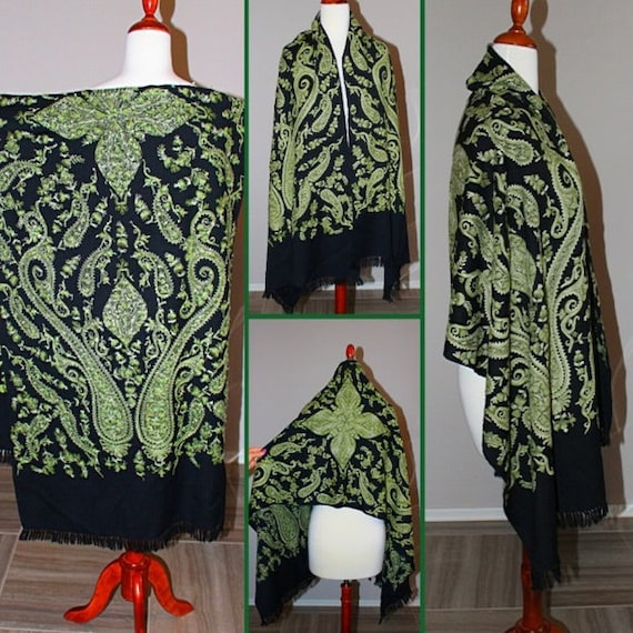 Vintage Embroidered Wool Shawl