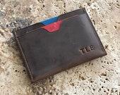 Slim leather Card wallet, front pocket wallet, Minimalist cardholder, leather card sleeve, Card wallets for men, Gifts for Men