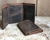 Minimalist Personalized Trifold Wallet, Bilfold ID Holder, Leather Cash Wallet, Mens leather wallet, Monogrammed Gift