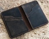 PERSONALIZED Leather Mens Bifold Wallet. Slim front pocket Wallet. Mens Wallet