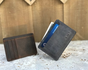 Minimalist Leather Card Sleeve. Slim Card Wallet. Personalized Wallet. Groomsmen Gift. Personalized Leather Cardholder. Unisex card wallet.
