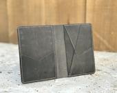 Gray Slim Front Pocket Wallet. Minimalist personalized Leather Wallet. Bifold Credit Card Holder. Wedding Groomsmen Wallet. Wallet for him