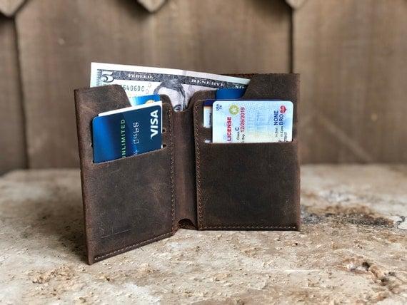 Men/'s Brown Bi fold Leather Wallet Card Holder Wallets for Men Christmas Gift