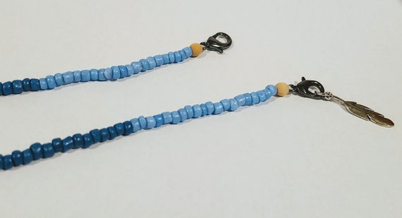 Mask Necklace Blues Beaded Clasped Mask Necklace - Calm Collection