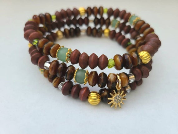 """Goods by KH - Calm Wood and Aventurine Stretch Bracelet with 24k Yellow Gold Plated Charm (4-7mm & 7"""")"""