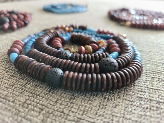 Mask Necklace Mixed Blues and Browns Beaded Long Clasped Mask Necklace - Calm Collection