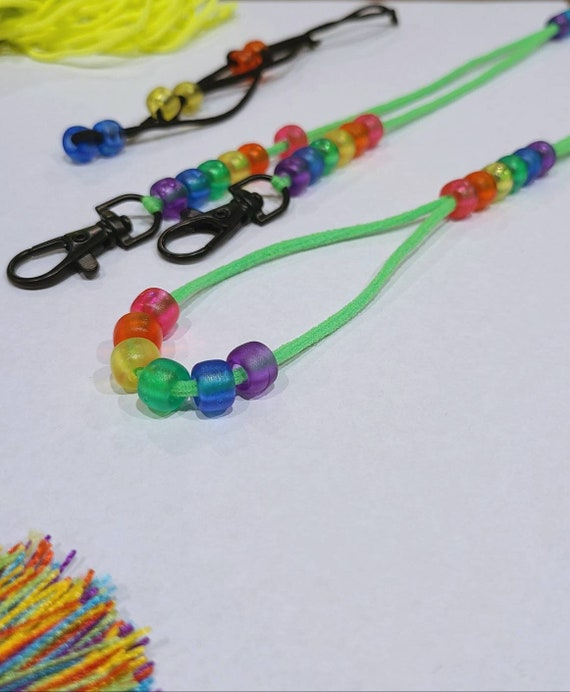 Kids Neon & Colorful Mask Soft Stretch Beaded Clasped Cord Holder