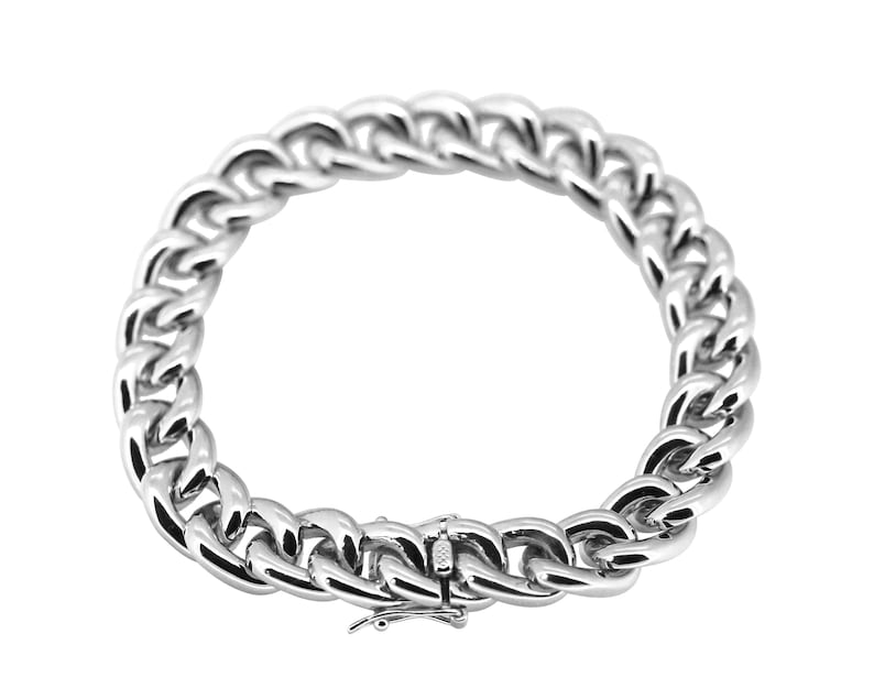 very nice mirror polish and rhodium plating finishing Solid sterling silver big curb bracelet for man