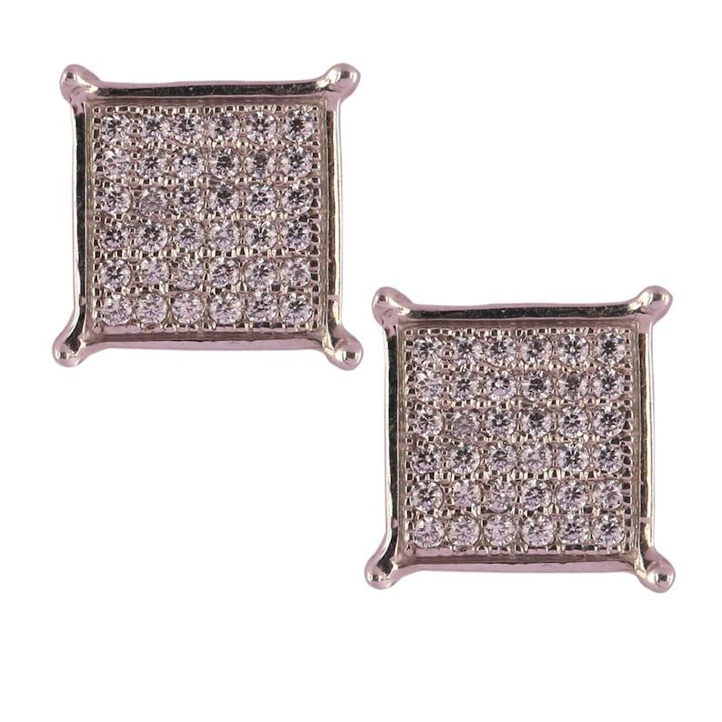 Women/'s 925 Sterling Silver 14k White Gold Finish Round Cut Cubic Zirconia Square Stud Earrings Push Back Earrings