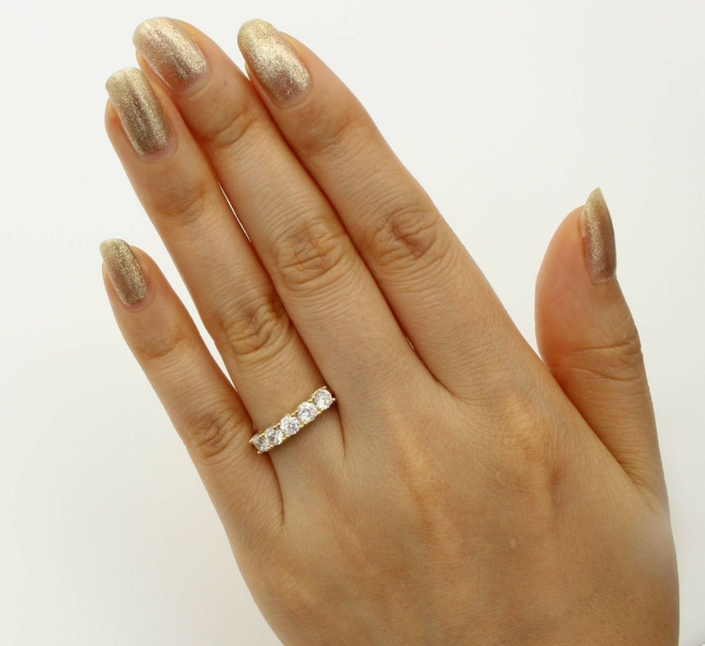 Five Stone Band Ring Anniversary Band Ring Simulated Diamond Wedding Band Ring Solid 14K Yellow Gold plated 925 Sterling Silver
