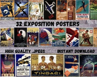 Vintage Exposition Posters, Tourism Posters, Instant Download, Exposition Ephemera, Wall Art for home, Exposition Prints, Tourist JPEGS