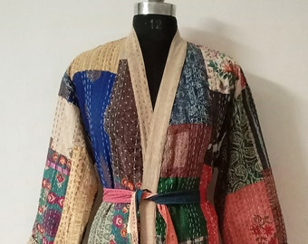 Handmade Quilted Coat Multi Patchwork Kantha Quilted Jacket, Kantha Quilt Women Wear bath robe, Comfortable For Winter Wear Women Jacket