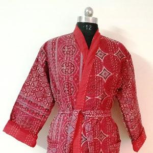 Indian Handmade Style Night Wear Dress Winter Wear Jacket Kantha Quilted Jacket Women Wear Kimono Jacket Azrak Print Short Coat