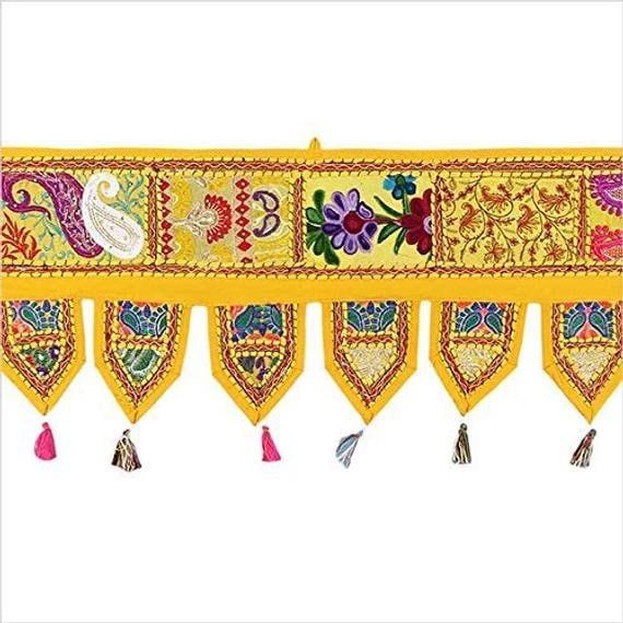 Vintage Patchwork Door Hanging Indian Embroidered Decorative Valance Boho Curtain Gypsy Banjara Window Topper