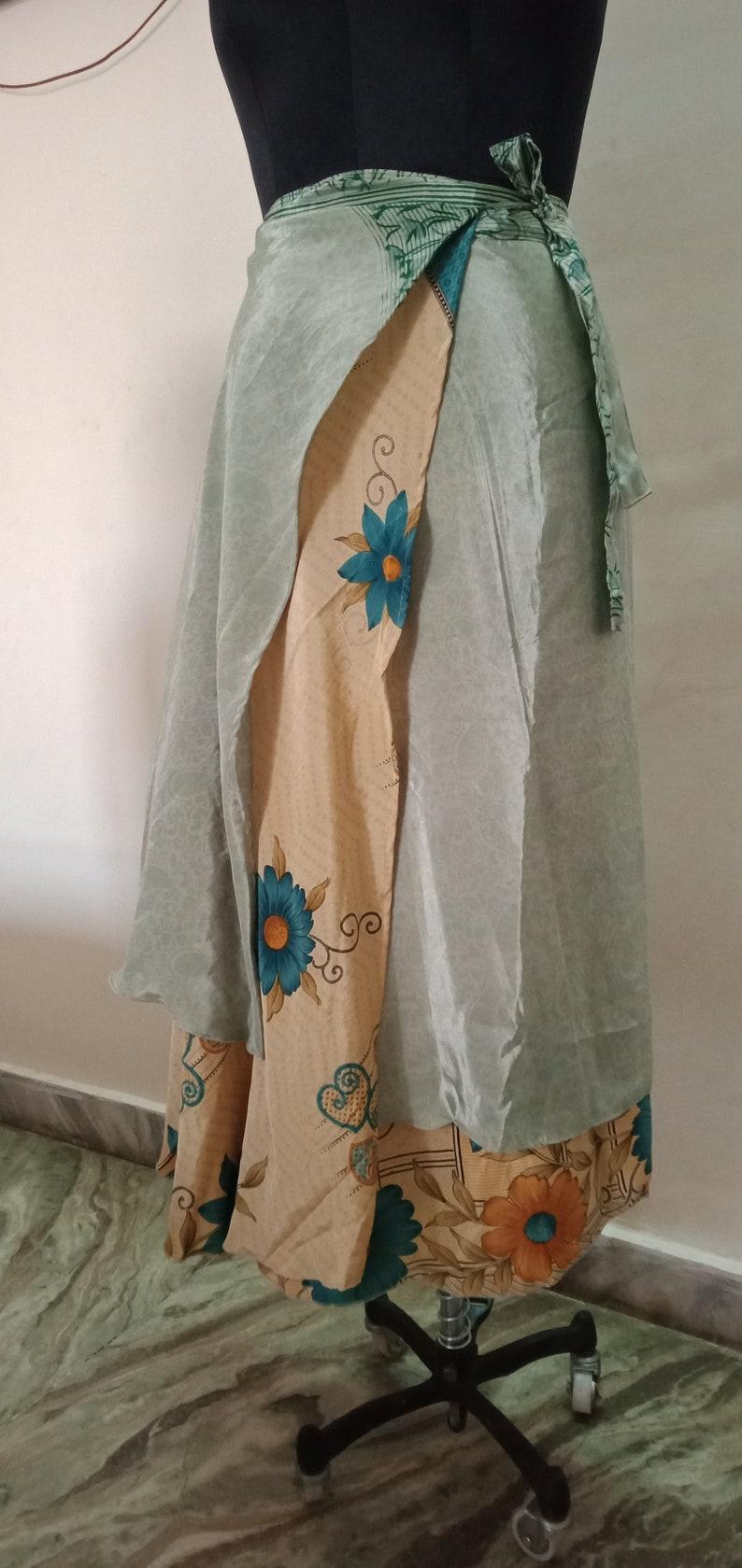 Tribal Skirt Summer Clothing Boho Skirt Indian Handmade Wrap Sari Silk Skirt Gypsy Skirt Reversible Oriental Skirt