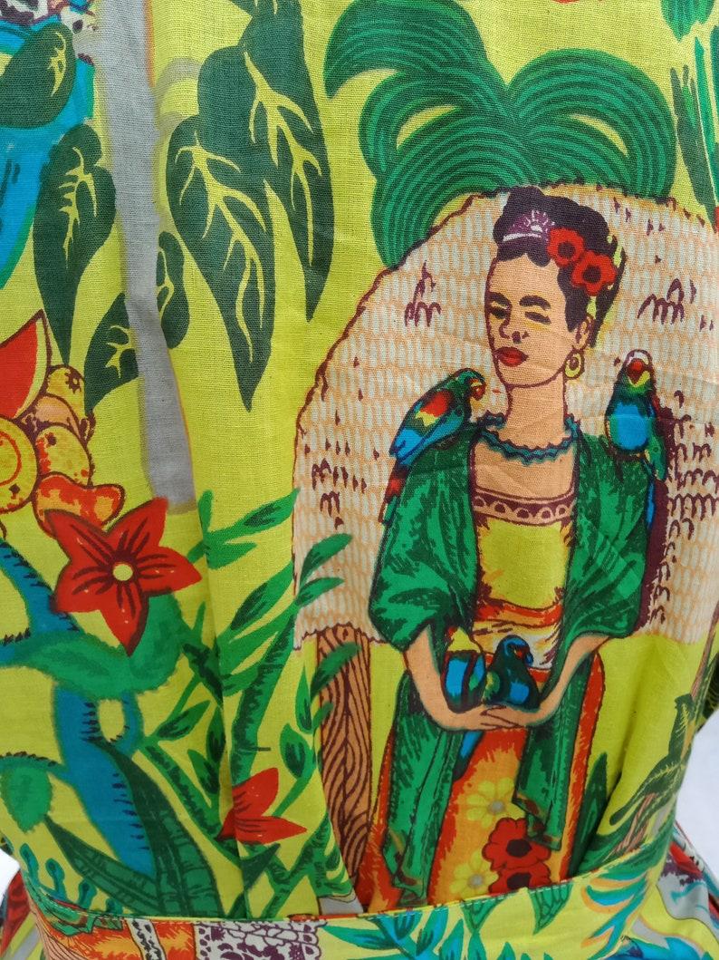 Yellow Farida kahlo Kimono Dress Women maxi night Wear Dress handmade bath Robes Indian Handmade