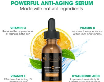Advanced Vitamin C Serum   All Natural Anti Aging, Anti-Wrinkle Facial Serum For Men & Women   Best Natural Facial Oil   Hyaluronic Acid