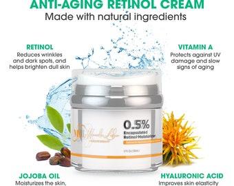 Natural Anti Aging Moisturizer Cream   Retinol Night Cream   Anti Acne and Anti Wrinkles Cream   Natural Skincare Product for Men & Women
