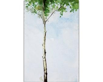 Birch Tree Painting Aspen Tree Original Art Tree Artwork Small Watercolor Wall Art 6 by 4 by Nadya Ya