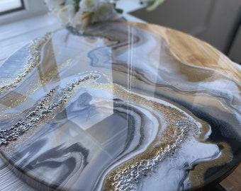 epoxy resin table top, handmade table, epoxy home decor
