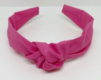 One Size Fits All Light pink velvet or Hot pink stripe Top Knot Bow Collection-nylon or metal clip