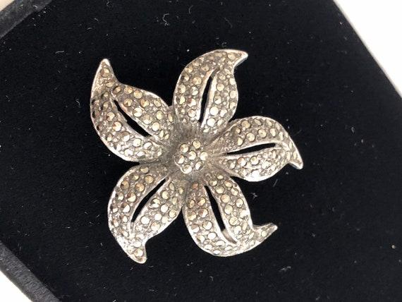 Vintage Marcasite Flower Brooch Cottagecore Floral
