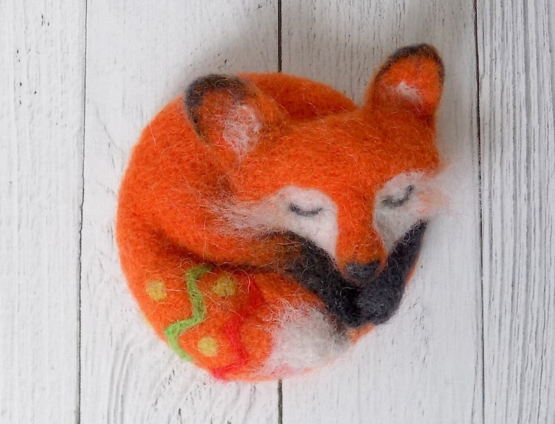 teenager girl orange fox jewelry as a gift for girlfriend Felted red fox animal brooch science teacher