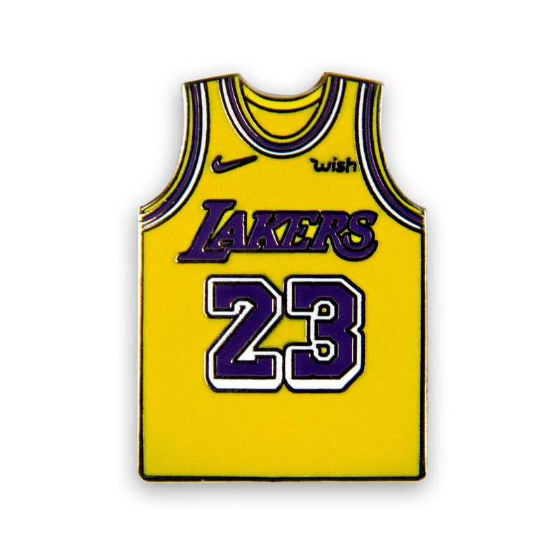 new products 604ce f2dd9 LeBron James Lakers Jersey Lapel Pin