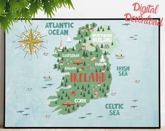 Large Map Of Ireland.Large Map Of Ireland Etsy
