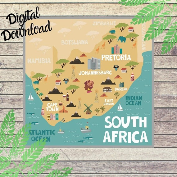 Map Of South Africa For Kids.South Africa Printable Map Of Southern Africa Print For Kids Homeschool Geography High Resolution Illustrated Map Download Digital