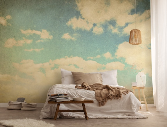 Vintage Clouds Wallpaper Self Adhesive Wallpaper Removable Etsy