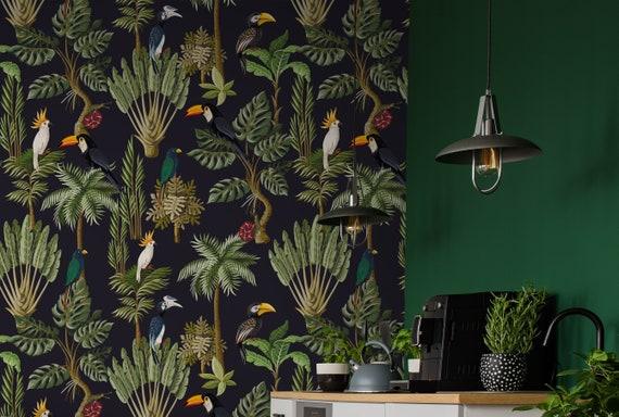 Jungle Animals Retro Wallpaper Peel And Stick Wallpaper Etsy
