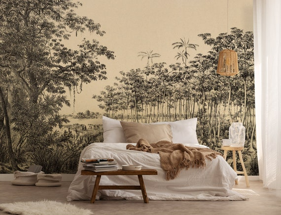 Vintage Landscape Self Adhesive Wallpaperwall Mural Nature Etsy