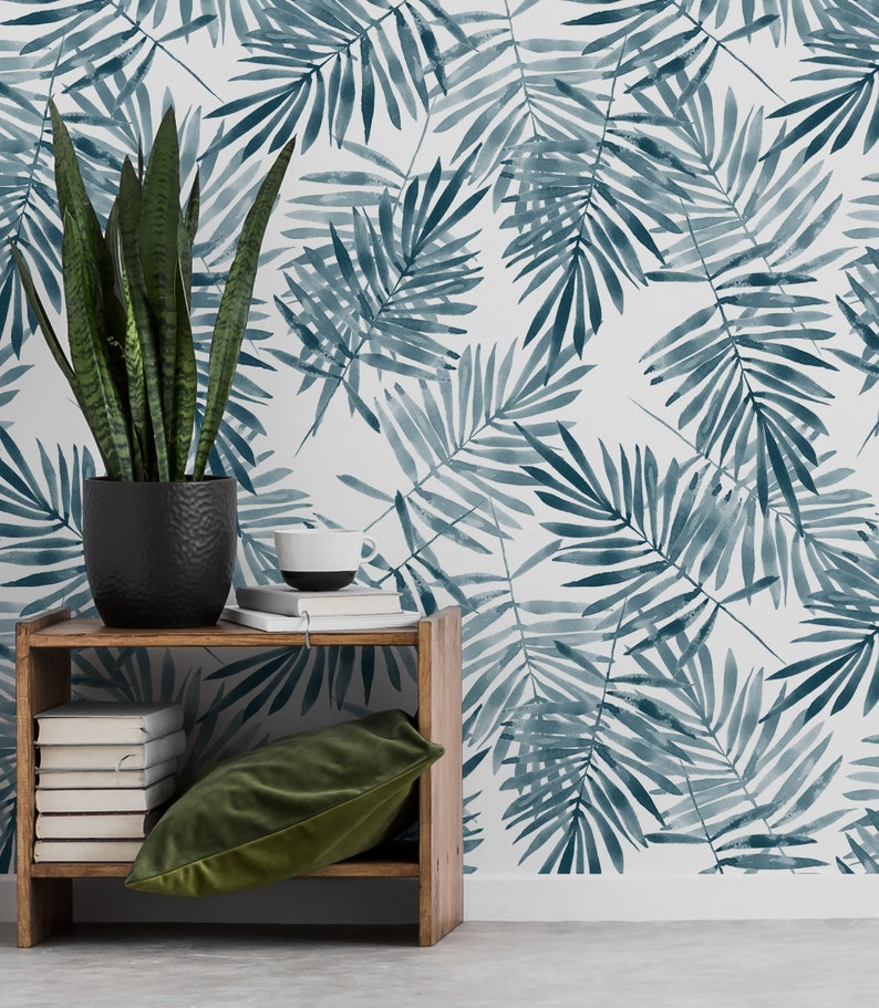 temporary tropical wallpaper removable wall decor #129 Blue palm leaf retro wallpaper peel and stick wall mural watercolor pattern