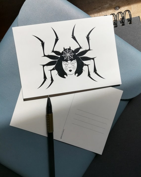 Postcard A6 black and white drawing print dark rabbit skull art dark art
