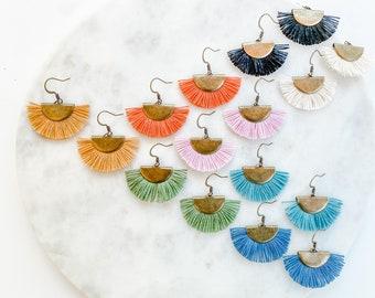 Organic Cotton Macrame Earring   Handmade   Lightweight   Eco Materials   Semicircle Macrame   Geometric Shape   Statement Earrings