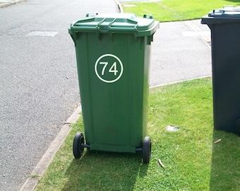 11 Round White Vinyl Recycle Wheelie Wheely Bin Stickers House Numbers Post Code