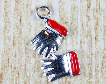 Two Mittens Silver Plated Enamel Charm - Christmas Mittens Enamel Charm - Festive Christmas Charm for Holiday Jewelry
