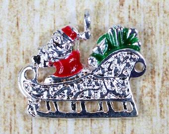 Santa's Sleigh Silver Plated Enamel Charm - Fancy Holiday Sleigh Enamel Charm - Festive Christmas Charm for Holiday Jewelry