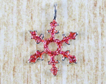 Pink Snowflake Silver Plated Enamel Charm - Fancy Snowflake Sparkle Enamel Charm - Festive Christmas Charm for Holiday Jewelry