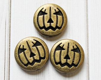 Jack-O-Lantern Metal Bead 3-Pack - Antiqued Bronze Copper Silver Metal Bead - Jack-o-Lantern Pumpkin Halloween Bead - Halloween Craft Supply