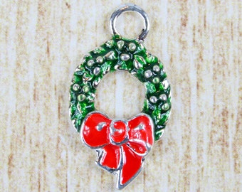 Christmas Wreath Silver Plated Enamel Charm - Holiday Tree Enamel Charm - Festive Christmas Charm for Holiday Jewelry